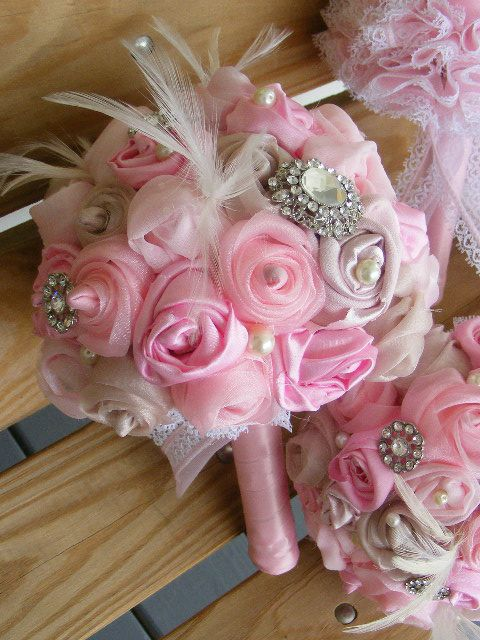 PINK CHAMPAGNE Bridesmaid Bridal bouquet SMALL :  wedding bridesmaids bridal bouquet croska pink brooches lace feathers bouquet flowers DSCF3409