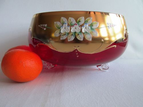 LARGE-Bohemian-RUBY-RED-GLASS-VASE-DISH-GILDING-HAND-PAINTED-ENAMEL-FLOWERS-NEW