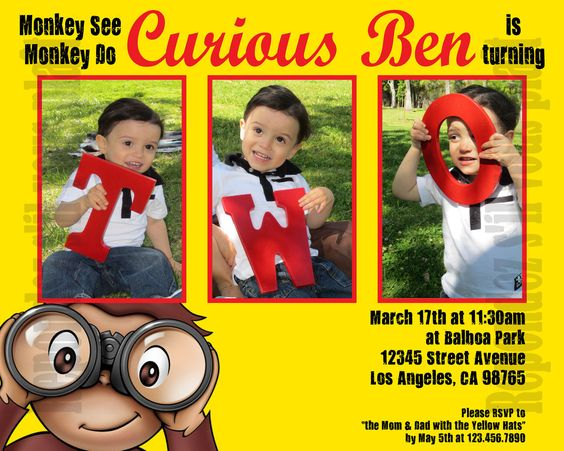 Curious George Invitation by sangelastro on Etsy, $15.00