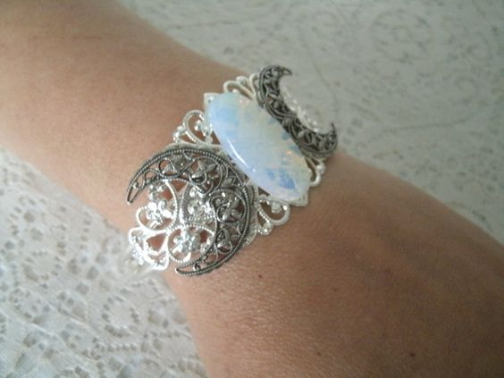 Sea Opal Triple Moon Cuff Bracelet, wiccan jewelry, pagan jewelry, wicca jewelry, goddess jewelry, witch, witchcraft, magic, metaphysical by Sheekydoodle on Etsy
