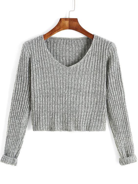 Jersey cuello V manga larga crop -gris 14.66:
