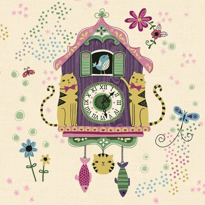Cuckoo Clock Cats 2 Art Print