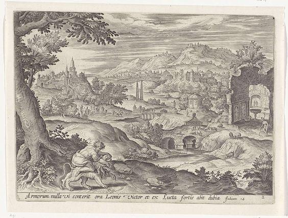 Antonie Wierix (II) | Simson doodt de leeuw, Antonie Wierix (II), Jan Snellinck (I), Gerard de Jode, 1585 | Simson doodt met zijn blote handen de leeuw, door de kaken van het dier uiteen te trekken. Op de achtergrond een heuvelachtig landschap. Onder de voorstelling een verwijzing in het Latijn naar de Bijbeltekst in Ri. 14.