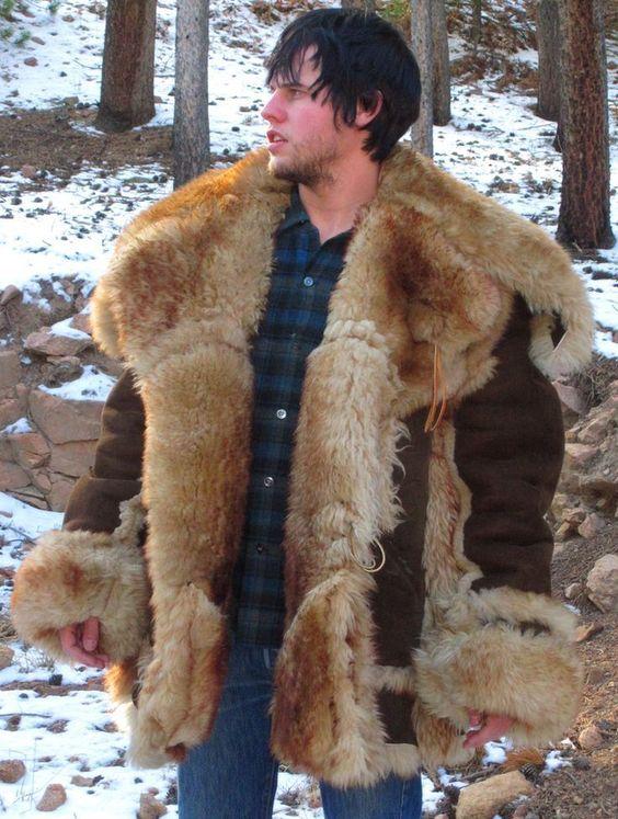 Men&39s SCHOTT NYC Shearling Sheepskin MOUNTAIN MAN COAT size 44