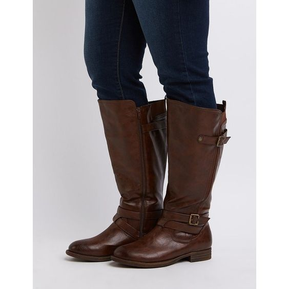Charlotte Russe Wide Width Knee-High Moto Boots ($18) ❤ liked on ...