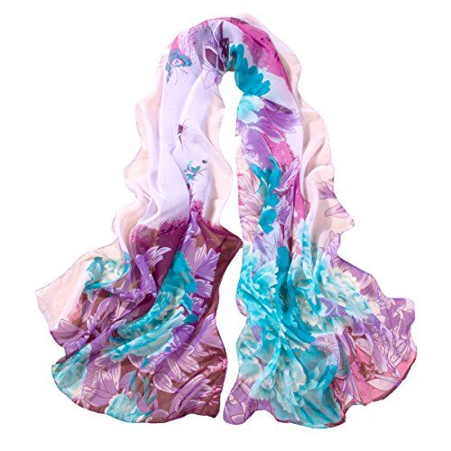 Women Chiffon Wrap Scarf Shawl Flowers Birds Beach Casual Shawl Scraf 50*160cm