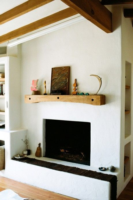 Perfect Beams And Fireplace Plaster With Wooden Mantle