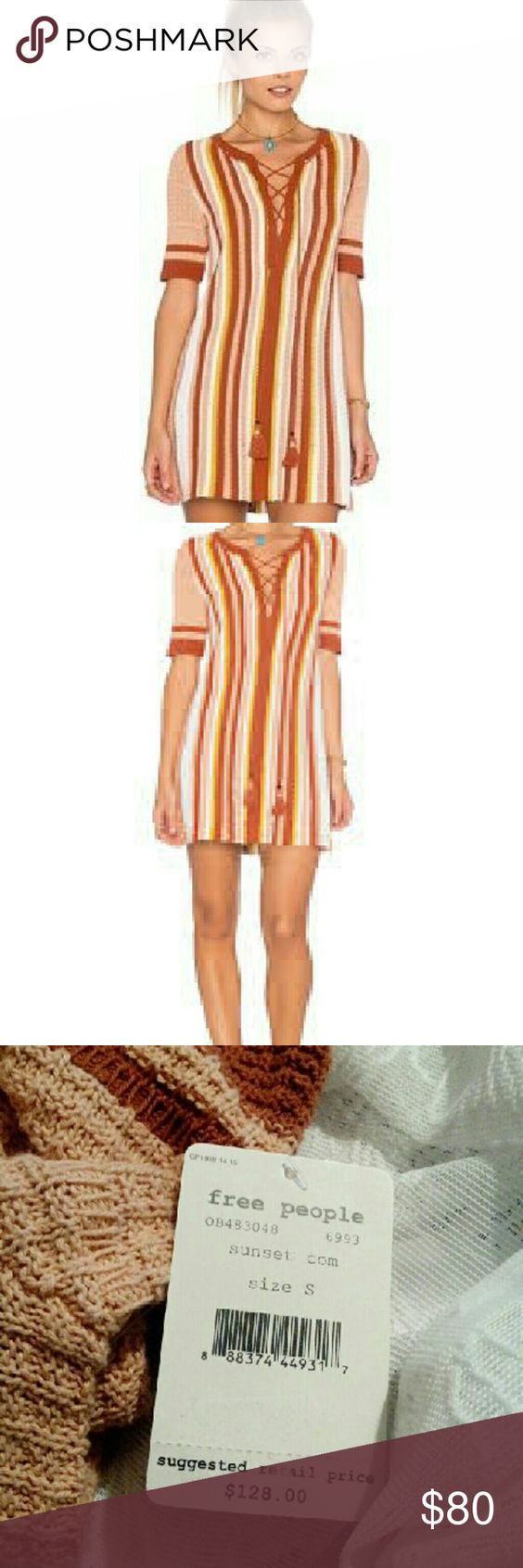 """NEW Free People Sunset Tunic Dress S4-6 Beautiful Sunset Tunic Dress By Free People. Can be worn as either a tunic or short dress. Sweater like knit. Gorgeous earth tones in the stripes.? Front lace up closure with a tassel fringe trim. Size Small 4-6  Retail $128 Our Price $80 Free shipping!  Size Small. 4-6 Bust 35""""-36"""" Natural Waist 27""""-28"""" Drop Waist 29.25""""-30.25"""" Hips 37""""-38""""  Broom Closet is a registered retailer. We receive our merchandise from wholesalers, manufacturers, and…"""