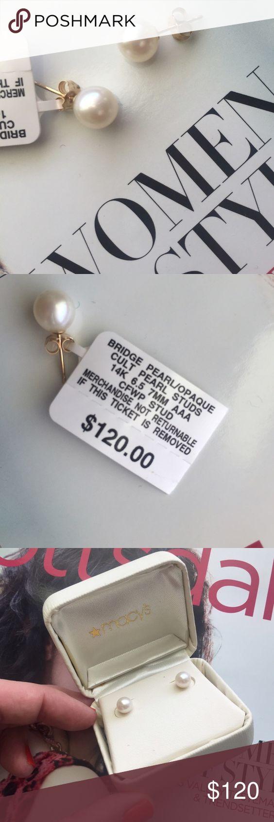 New Listing✨ 🆕 Macy's Pearl Earrings Nwt Macy's Cultured Pearl Earrings  With 14k Gold