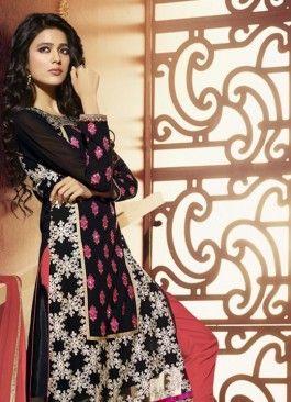 Aspiring Black Georgette Designer Straight Salwar Kameez  Email - support@ethnicoutfits.com Call - +918140714515 What's app / Viber - +918141377746