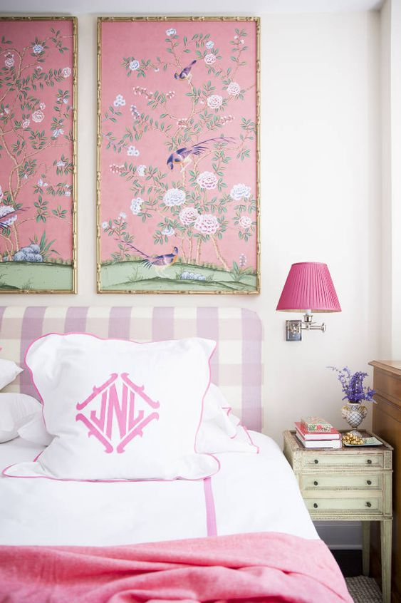 Charming mix of panels, large check headboard, pink lamp shade, monogrammed pillow cases - Nick Olsen: