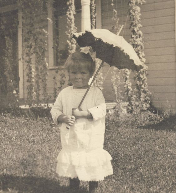 Little Girl with PARASOL and White COTTON DRESS Photo Postcard Circa 1910s