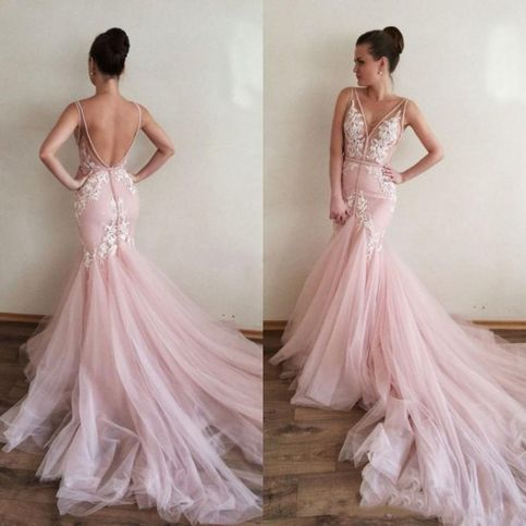 V Neck Sleeveless Formal Gown Pink Open Back Mermaid Prom Dress With Lace Appliques Sold By Pu In 2020 Pink Wedding Dresses Bridal Gown Tulle Blush Pink Wedding Dress