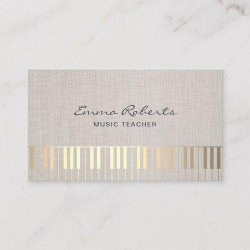 Music Teacher Gold Piano Musical Elegant Linen Business Card Zazzle Com In 2021 Linen Business Cards Music Business Cards Music Teacher
