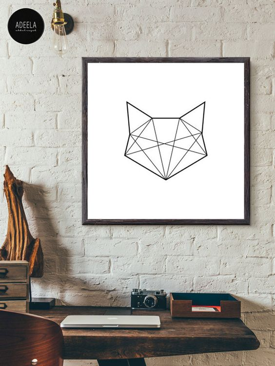 Cat Stroke Art Print Line Art Geometric Animal von AdeelaAbdulRazak