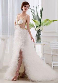 white straps criss cross back sleeveless a-line ruffles prom dress - Promdressmall.org
