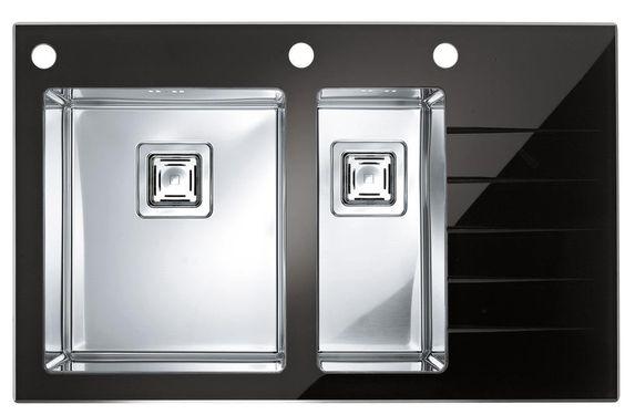 Alveus DESIGN Küchenspüle Crystalix 20 Spüle 860x540mm Einbauspüle Edelstahl & Glas Ablage - Becken LINKS (schwarz)