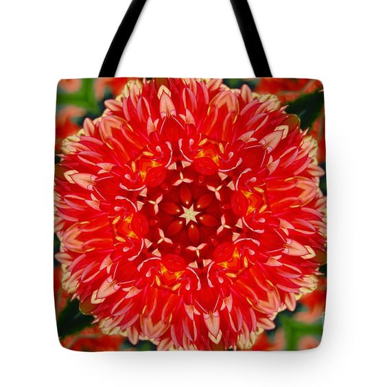 Contemporary Tote Bag featuring the digital art Red Flower #1 by Aileen Griffin
