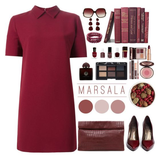 """marsala org"" by bodangela ❤ liked on Polyvore featuring Mode, P.A.R.O.S.H., Stuart Weitzman, Marie Turnor, Pier 1 Imports, Charlotte Tilbury, NARS Cosmetics, AMOUAGE, Oliver Peoples und Annoushka"