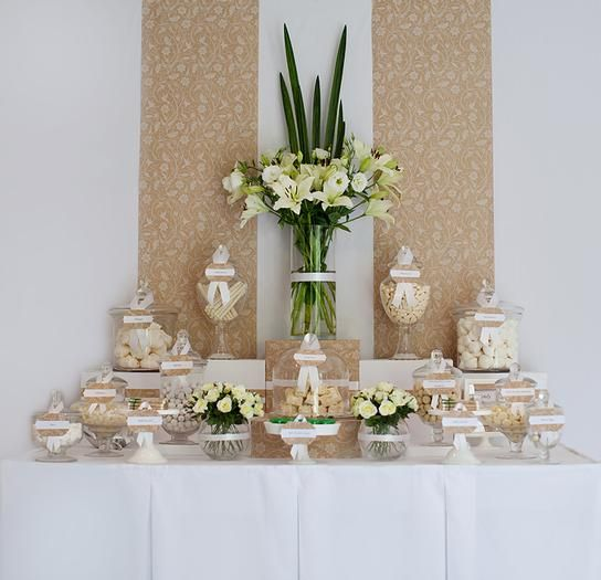 Hostess with the Mostess® - Wedding Candy Buffet      pinned by www.sweeteventdesign.com    colors-  cream, beige, tan, white  theme:  floral, lace, clean, sophisticated  occasion:  wedding, bridal shower: