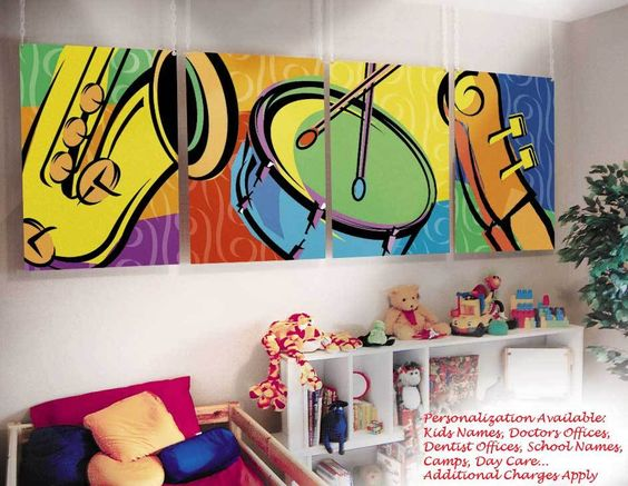 Music Classroom Wall Decorations ~ Kids childrens wall murals art music theme bedroom