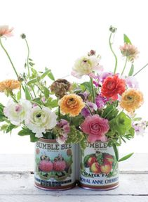 Tin cans with labels left on can be used as 'vases' for nice flower arrangements. She was incredibly resourceful.