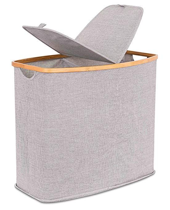 Birdrock Home Divided Bamboo Canvas Hamper Laundry Basket With