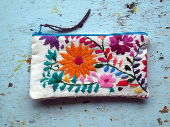 Mexican Embroidered Pouch Lapicero by EricaMaree on Etsy: