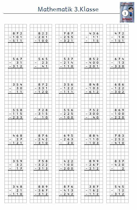 Kostenloses Arbeitsblatt 3 Klasse Mathematik Subtraktion
