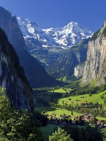 Photographic Print: Switzerland, Bernese Oberland, Lauterbrunnen Town and Valley by Michele Falzone : 24x18in