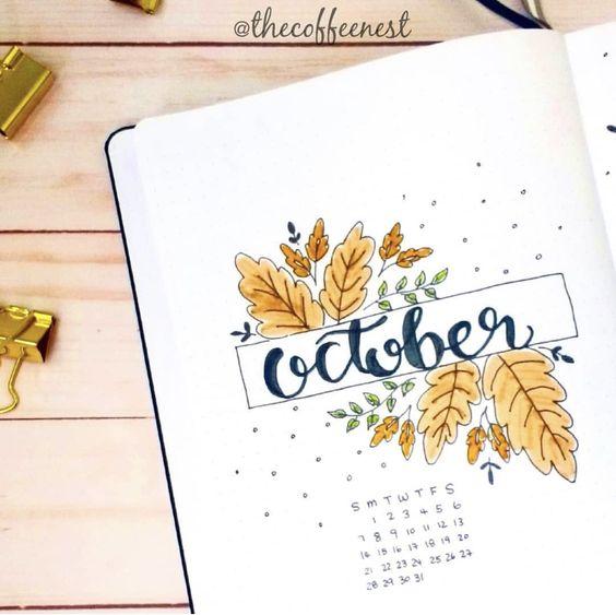 Bullet Journal à thème : l'automne est là (page par @thecoffenest)