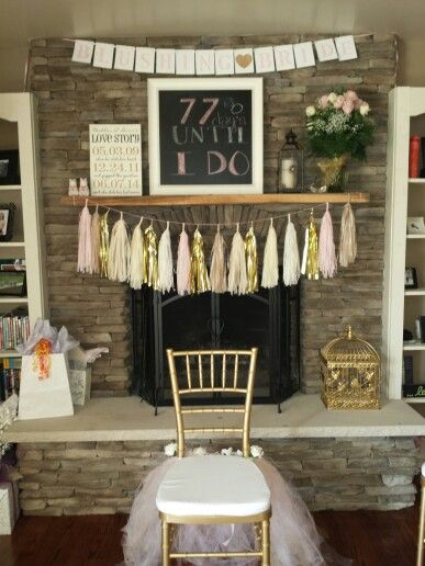 Pink and gold bridal shower decorations