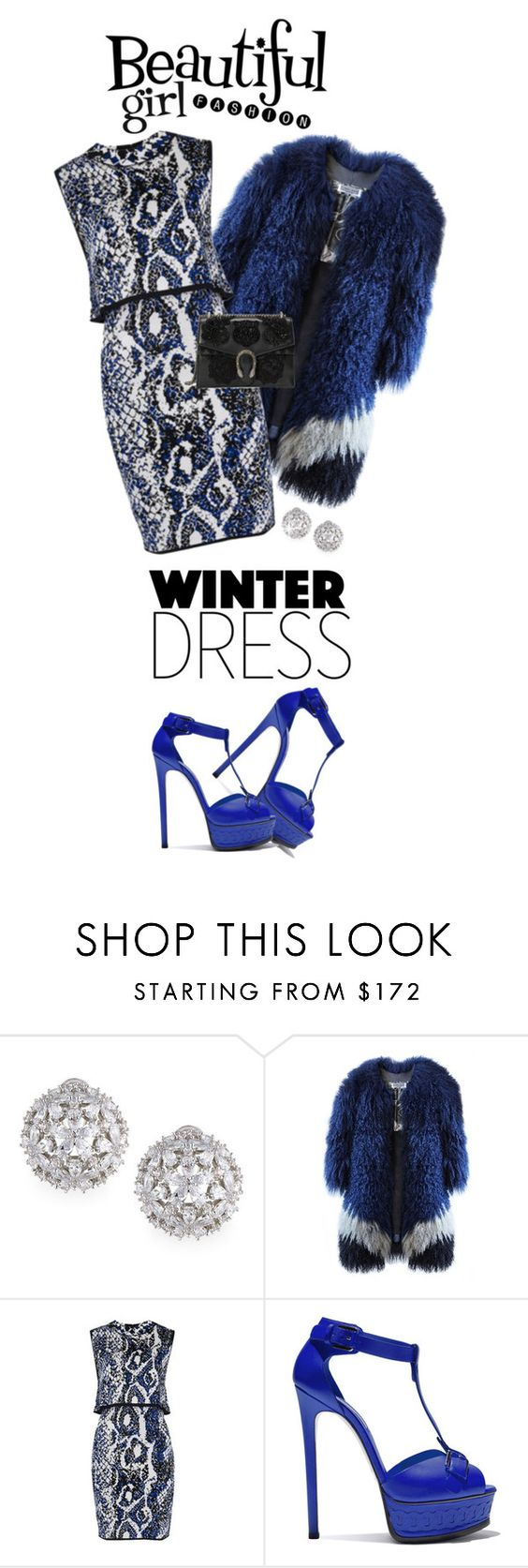 """""""Winter Dresses Under $100"""" by shortyluv718 ❤ liked on Polyvore featuring Fallon, French Connection, Casadei, Gucci and under100"""