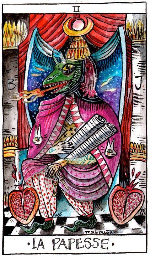 The High priestress , wilder Mann tarot, marie meier, 2014 ( www.mariemeier.fr)