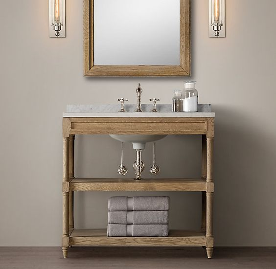 Weathered Oak Single Washstand 1650 Includes Marble Top And Sink But Not Water Supply Or