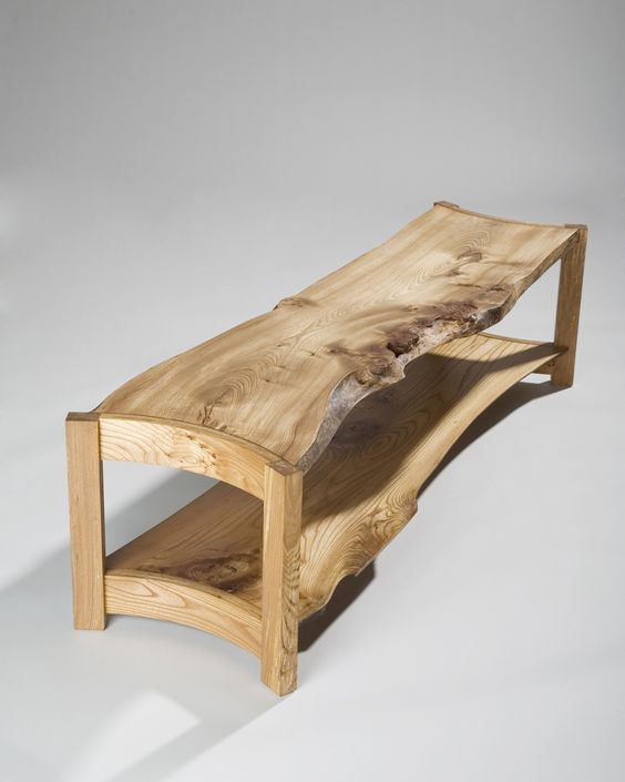 warm wooden coffee table from reclaimed wood