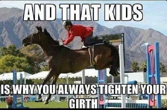 Equestrian problems, riding problems. Tighten your girth kids.