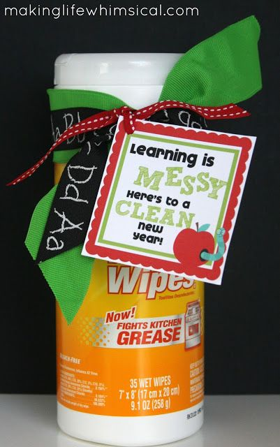 Here's to a clean new year!: Craft Gifts For Teachers, Teachers Gift, Teacher Backtoschool, Crafts Teacher Gifts, Norwex Gift, Apple