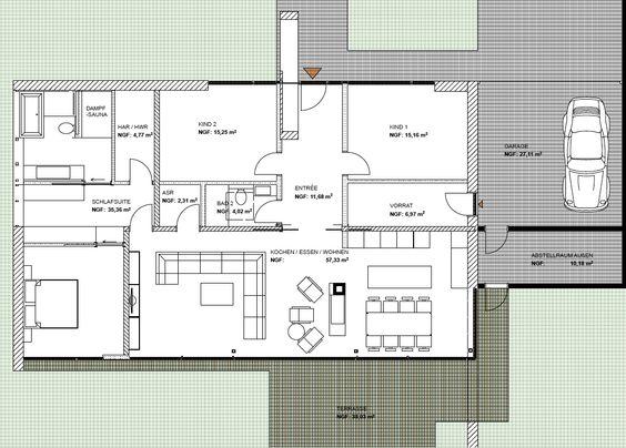 modernes wohnen auf einer ebene bungalow bauen. Black Bedroom Furniture Sets. Home Design Ideas