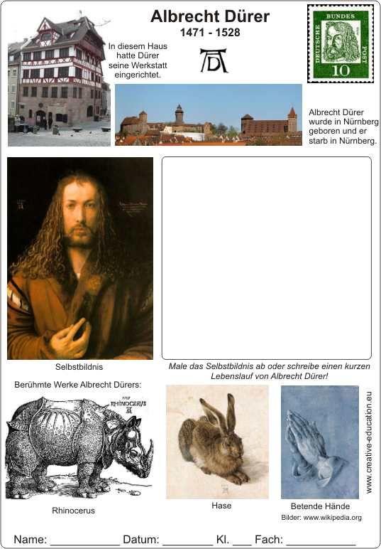 Albrecht Durer 1471 1528 Lebenslauf Mit Text Und Bildern Arbeitsblatt Kunst Arbeitsblatt Jugendlich Kunst Kunst Unterrichten