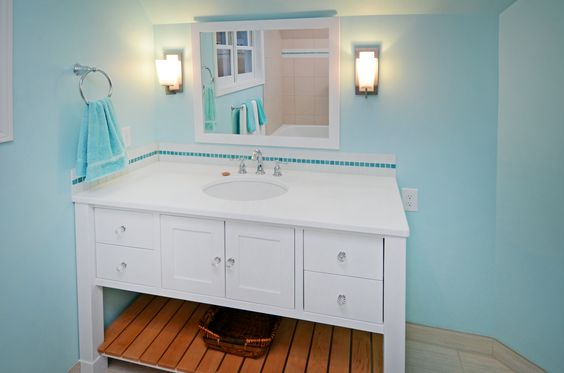 Fun Turquoise Bathroom With Custom Cabinetry Glass Tile Backsplash Undermount Sink