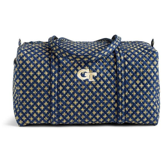 Vera Bradley Large Duffel Travel Bag in Navy/Fash. Gold Mini Concerto... (7.060 RUB) ❤ liked on Polyvore featuring bags and luggage