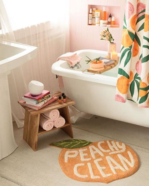 urban outfitters peach bathroom