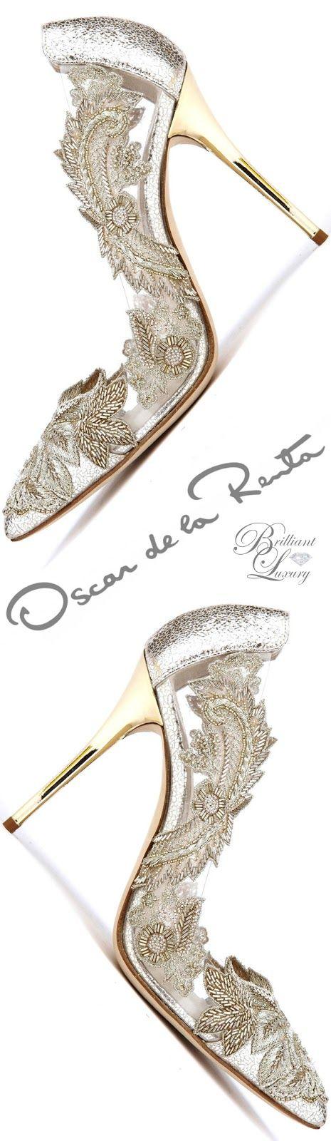 Brilliant Luxury ♦ Oscar de la Renta 'Alyssa' Smoke Metallic Pumps