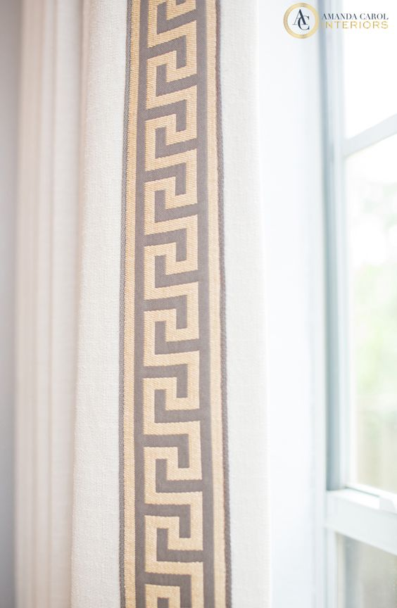 Greek Key Trim On Solid Curtains It 39 S All In The Details Fabrics And Pattern Pinterest