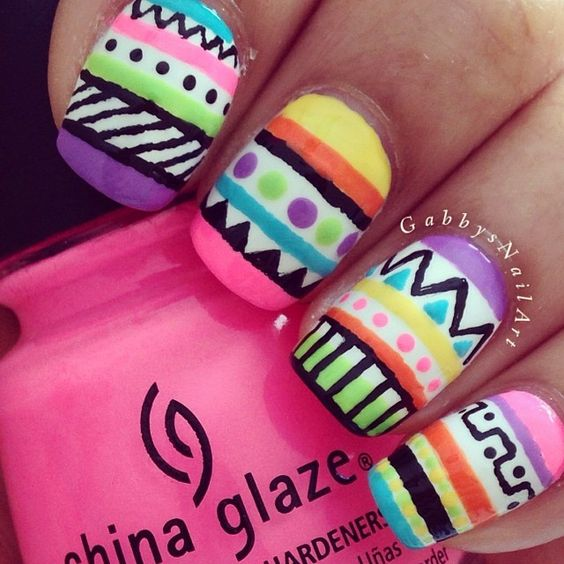 Tribal nails.   Nail art. Nail design. Polishes. Polish. Instagram by gabbysnailart