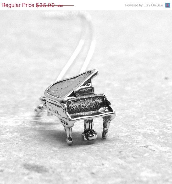 On Sale Piano Necklace Sterling Silver by GirlBurkeStudios on Etsy, $31.50
