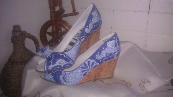 Hand painted blue Talavera wedge heels sz 8W by PaprikaJanes, $100.00