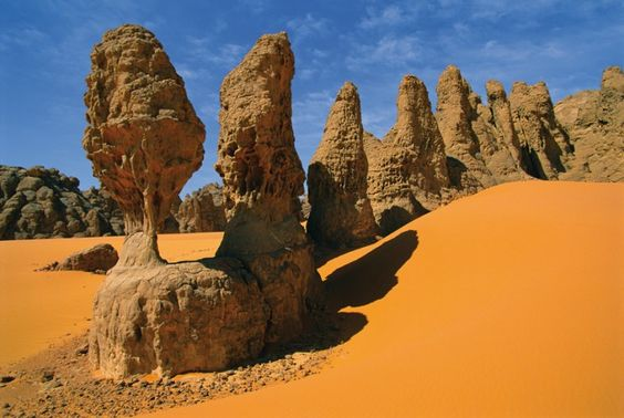 Unusual and spectacular rock formations in the Sahara dessert of Chad.
