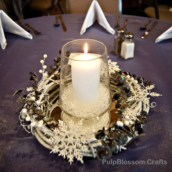 Winter wedding centerpieces snowflake theme